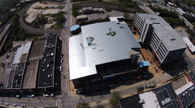 Aerial view of Citrix's new campus under construction in Raleigh NC